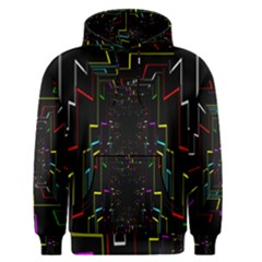 Seamless 3d Animation Digital Futuristic Tunnel Path Color Changing Geometric Electrical Line Zoomin Men s Pullover Hoodie