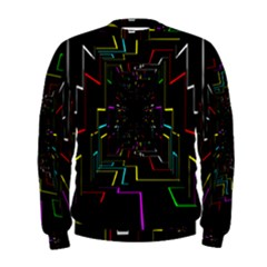 Seamless 3d Animation Digital Futuristic Tunnel Path Color Changing Geometric Electrical Line Zoomin Men s Sweatshirt