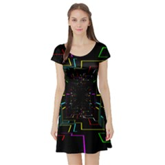 Seamless 3d Animation Digital Futuristic Tunnel Path Color Changing Geometric Electrical Line Zoomin Short Sleeve Skater Dress