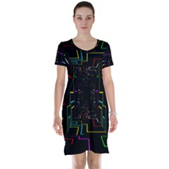 Seamless 3d Animation Digital Futuristic Tunnel Path Color Changing Geometric Electrical Line Zoomin Short Sleeve Nightdress