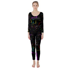 Seamless 3d Animation Digital Futuristic Tunnel Path Color Changing Geometric Electrical Line Zoomin Long Sleeve Catsuit