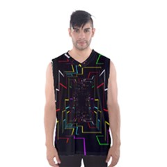 Seamless 3d Animation Digital Futuristic Tunnel Path Color Changing Geometric Electrical Line Zoomin Men s Basketball Tank Top