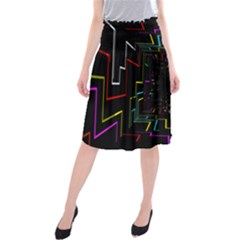 Seamless 3d Animation Digital Futuristic Tunnel Path Color Changing Geometric Electrical Line Zoomin Midi Beach Skirt