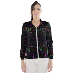Seamless 3d Animation Digital Futuristic Tunnel Path Color Changing Geometric Electrical Line Zoomin Wind Breaker (women)