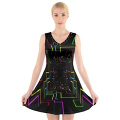 Seamless 3d Animation Digital Futuristic Tunnel Path Color Changing Geometric Electrical Line Zoomin V Neck Sleeveless Skater Dress