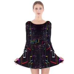 Seamless 3d Animation Digital Futuristic Tunnel Path Color Changing Geometric Electrical Line Zoomin Long Sleeve Velvet Skater Dress