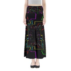 Seamless 3d Animation Digital Futuristic Tunnel Path Color Changing Geometric Electrical Line Zoomin Full Length Maxi Skirt