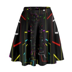 Seamless 3d Animation Digital Futuristic Tunnel Path Color Changing Geometric Electrical Line Zoomin High Waist Skirt