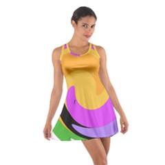 Spiral Digital Pop Rainbow Cotton Racerback Dress