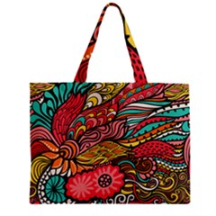 Seamless Texture Abstract Flowers Endless Background Ethnic Sea Art Zipper Mini Tote Bag