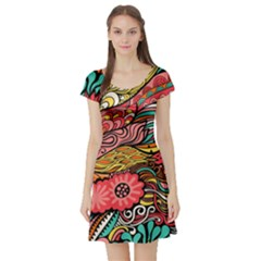 Seamless Texture Abstract Flowers Endless Background Ethnic Sea Art Short Sleeve Skater Dress