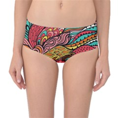 Seamless Texture Abstract Flowers Endless Background Ethnic Sea Art Mid Waist Bikini Bottoms