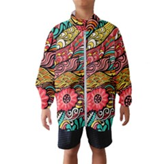 Seamless Texture Abstract Flowers Endless Background Ethnic Sea Art Wind Breaker (kids)