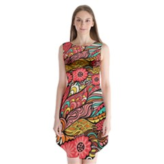 Seamless Texture Abstract Flowers Endless Background Ethnic Sea Art Sleeveless Chiffon Dress