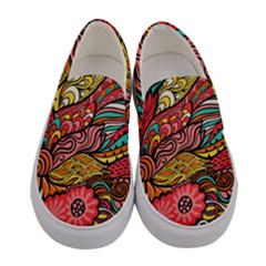 Seamless Texture Abstract Flowers Endless Background Ethnic Sea Art Women s Canvas Slip Ons