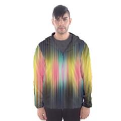 Sound Colors Rainbow Line Vertical Space Hooded Wind Breaker (men)