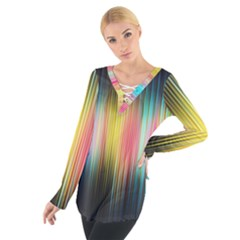 Sound Colors Rainbow Line Vertical Space Tie Up Tee