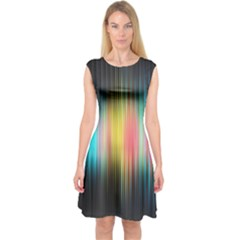 Sound Colors Rainbow Line Vertical Space Capsleeve Midi Dress