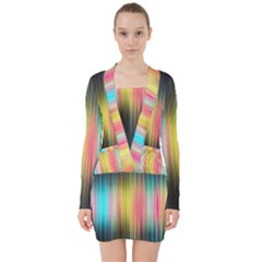 Sound Colors Rainbow Line Vertical Space V Neck Bodycon Long Sleeve Dress