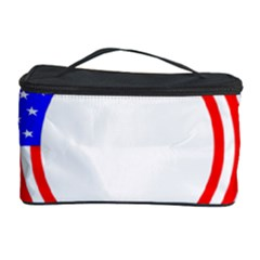 Stars Stripes Circle Red Blue Cosmetic Storage Case