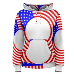 Stars Stripes Circle Red Blue Women s Pullover Hoodie