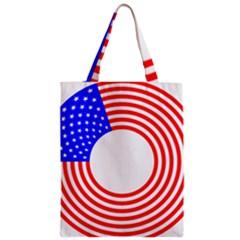 Stars Stripes Circle Red Blue Zipper Classic Tote Bag