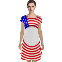 Stars Stripes Circle Red Blue Cap Sleeve Nightdress