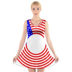 Stars Stripes Circle Red Blue V Neck Sleeveless Skater Dress