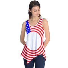 Stars Stripes Circle Red Blue Sleeveless Tunic