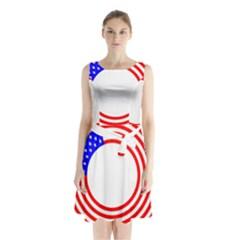 Stars Stripes Circle Red Blue Sleeveless Waist Tie Chiffon Dress