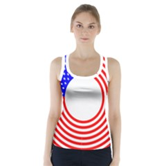 Stars Stripes Circle Red Blue Racer Back Sports Top