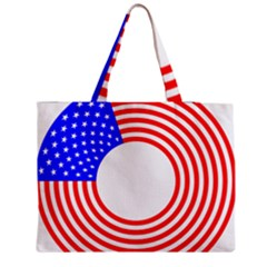 Stars Stripes Circle Red Blue Zipper Medium Tote Bag