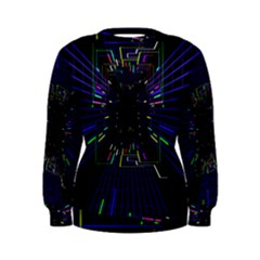 Seamless 3d Animation Digital Futuristic Tunnel Path Color Changing Geometric Electrical Line Zoomin Women s Sweatshirt