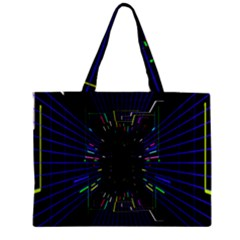 Seamless 3d Animation Digital Futuristic Tunnel Path Color Changing Geometric Electrical Line Zoomin Zipper Mini Tote Bag