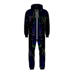Seamless 3d Animation Digital Futuristic Tunnel Path Color Changing Geometric Electrical Line Zoomin Hooded Jumpsuit (kids)