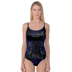 Seamless 3d Animation Digital Futuristic Tunnel Path Color Changing Geometric Electrical Line Zoomin Camisole Leotard