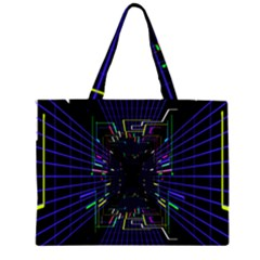 Seamless 3d Animation Digital Futuristic Tunnel Path Color Changing Geometric Electrical Line Zoomin Zipper Large Tote Bag