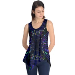 Seamless 3d Animation Digital Futuristic Tunnel Path Color Changing Geometric Electrical Line Zoomin Sleeveless Tunic