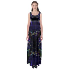 Seamless 3d Animation Digital Futuristic Tunnel Path Color Changing Geometric Electrical Line Zoomin Empire Waist Maxi Dress