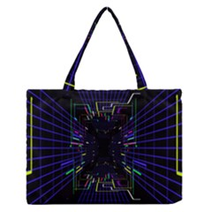 Seamless 3d Animation Digital Futuristic Tunnel Path Color Changing Geometric Electrical Line Zoomin Zipper Medium Tote Bag