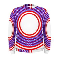 Stars Stripes Circle Red Blue Space Round Men s Sweatshirt