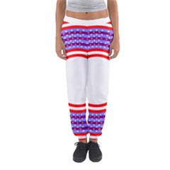 Stars Stripes Circle Red Blue Space Round Women s Jogger Sweatpants