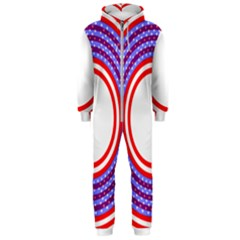 Stars Stripes Circle Red Blue Space Round Hooded Jumpsuit (men)