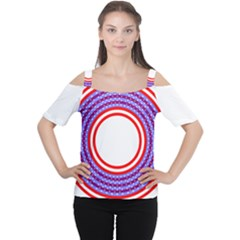 Stars Stripes Circle Red Blue Space Round Cutout Shoulder Tee