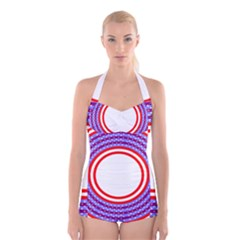 Stars Stripes Circle Red Blue Space Round Boyleg Halter Swimsuit