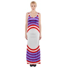 Stars Stripes Circle Red Blue Space Round Maxi Thigh Split Dress