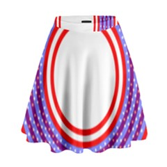 Stars Stripes Circle Red Blue Space Round High Waist Skirt