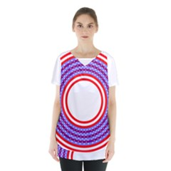 Stars Stripes Circle Red Blue Space Round Skirt Hem Sports Top