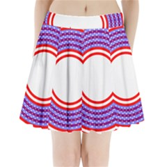 Stars Stripes Circle Red Blue Space Round Pleated Mini Skirt