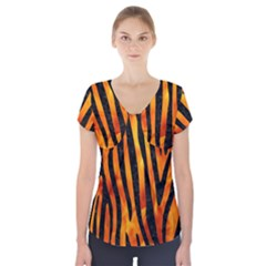 Skin4 Black Marble & Fire Short Sleeve Front Detail Top